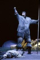 l-r: Gwynne Howell (Fasolt - dead), Franz-Josef Selig (Fafner) in DAS RHEINGOLD by Wagner at the The Royal Opera, Covent Garden, London WC2 16/09/1991  conductor: Bernard Haitink design: Peter Syk...