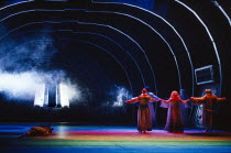 final scene - the gods cross the rainbow bridge to the castle of Valhalla in DAS RHEINGOLD by Wagner at the The Royal Opera, Covent Garden, London WC2 16/09/1991  conductor: Bernard Haitink design...
