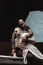 John Tomlinson (Wotan), Deborah Polaski (Brunnhilde) in DIE WALKURE by Wagner at the The Royal Opera, Covent Garden, London WC2 30/09/1996  conductor: Bernard Haitink design: Nigel Lowery lighting...