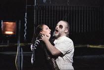 Deborah Polaski (Brunnhilde), John Tomlinson (Wotan) in DIE WALKURE by Wagner at the The Royal Opera, Covent Garden, London WC2 30/09/1996  conductor: Bernard Haitink design: Nigel Lowery lighting...