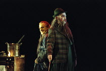 l-r: Graham Clark (Mime), John Tomlinson (Wotan / The Wanderer) in SIEGFRIED by Wagner at the The Royal Opera, Covent Garden, London WC2 27/03/1995 conductor: Bernard Haitink design: Nigel Lowery...