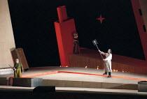 l-r: Siegfried Jerusalem (Siegfried), Anne Evans (Brunnhilde - rear, asleep under mask shield), John Tomlinson (Wotan) in SIEGFRIED by Wagner at the The Royal Opera, Covent Garden, London WC2 27/03/19...