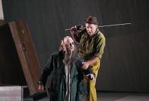 l-r: John Tomlinson (Wotan / Wanderer), Siegfried Jerusalem (Siegfried) in SIEGFRIED by Wagner at the The Royal Opera, Covent Garden, London WC2 07/10/1996 conductor: Bernard Haitink design: Nigel...
