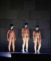 l-r: Judith Howarth (Woglinde), Daniela Bechly (Wellgunde), Leah-Marian Jones (Flosshilde) in GOTTERDAMMERUNG by Wagner at the The Royal Opera, Covent Garden, London WC2 14/10/1995  conductor: Ber...