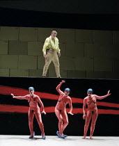 Siegfried Jerusalem (Siegfried) with (l-r) Judith Howarth (Woglinde), Daniela Bechly (Wellgunde), Leah-Marian Jones (Flosshilde) in GOTTERDAMMERUNG by Wagner at the The Royal Opera, Covent Garden, Lon...