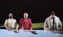 l-r: Kurt Rydl (Hagen), Siegfried Jerusalem (Siegfried), Alan Held (Gunter) in GOTTERDAMMERUNG by Wagner at the The Royal Opera, Covent Garden, London WC2 14/10/1995  conductor: Bernard Haitink de...