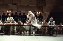 l-r: Kurt Rydl (Hagen - rear), Deborah Polaski (Brunnhilde), Alan Held (Gunter) in GOTTERDAMMERUNG by Wagner at the The Royal Opera, Covent Garden, London WC2 14/10/1995  conductor: Bernard Haitin...