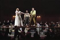 l-r: Deborah Polaski (Brunnhilde), Kurt Rydl (Hagen), Siegfried Jerusalem (Siegfried) in GOTTERDAMMERUNG by Wagner at the The Royal Opera, Covent Garden, London WC2 14/10/1995  conductor: Bernard...