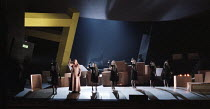 final scene, front left: Deborah Polaski (Brunnhilde) in GOTTERDAMMERUNG by Wagner at the The Royal Opera, Covent Garden, London WC2 14/10/1995  conductor: Bernard Haitink design: Nigel Lowery lig...