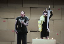 Deborah Polaski (Brunnhilde) in GOTTERDAMMERUNG by Wagner at the The Royal Opera, Covent Garden, London WC2 12/10/1996  conductor: Bernard Haitink design: Nigel Lowery lighting: Pat Collins moveme...