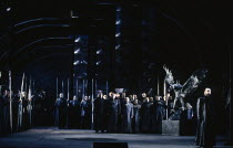right: John Tomlinson (Hagen) in GOTTERDAMMERUNG by Wagner at the The Royal Opera, Covent Garden, London WC2 04/02/1991 conductor: Bernard Haitink design: Peter Sykora lighting: John B Read director:...