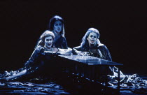 the Rhinemaidens, l-r: Judith Howarth (Woglinde), Jane Turner (Flosshilde), Anne Mason (Wellgunde) in GOTTERDAMMERUNG by Wagner at the The Royal Opera, Covent Garden, London WC2 04/02/1991 conductor:...
