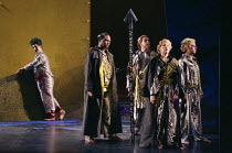 l-r: Bonaventura Bottone (Loge), Willard White (Wotan), Gerard Quinn (Donner), Felicity Palmer (Fricke), Justin Lavender (Froh) in DAS RHEINGOLD by Wagner at the Theatre Royal, Glasgow 27/01/1989 a Sc...