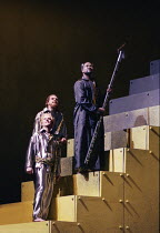 l-r: Justin Lavender (Froh), Gerard Quinn (Donner), Willard White (Wotan) in DAS RHEINGOLD by Wagner at the Theatre Royal, Glasgow 27/01/1989 a Scottish Opera production conductor: John Mauceri design...