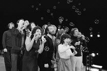 the company in UNDER MILK WOOD by Dylan Thomas at the Shaw Theatre, London NW1 24/06/1974 designed & directed by James Roose-Evans lighting: Dominic March