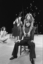 left: Frances Tomelty centre: Frances Cuka, Roy Holder in UNDER MILK WOOD by Dylan Thomas at the Shaw Theatre, London NW1 24/06/1974 designed & directed by James Roose-Evans lighting: Dominic March