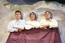 l-r: Stephen Botcher, Cynthia Greville, Gilbert Wynne in UNDER MILK WOOD by Dylan Thomas at the Greenwich Theatre, London SE10 20/10/1986 design: Belinda Ackerman lighting: John A Williams director: A...