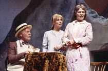 l-r: Denys Graham (Butcher Benyon), Catrin Menna, Cynthia Greville in UNDER MILK WOOD by Dylan Thomas at the Greenwich Theatre, London SE10 20/10/1986 design: Belinda Ackerman lighting: John A William...