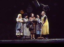 l-r: Sian Rivers, Beth Morris, Di Botcher, Ruth Jones, Shirley King (Mrs Organ Morgan) in UNDER MILK WOOD by Dylan Thomas at the Olivier Theatre, National Theatre (NT), London SE1 13/04/1995 music: Do...