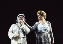 Anthony O'Donnell (Captain Cat), Sara McGaughey (Polly Garter) in UNDER MILK WOOD by Dylan Thomas at the Olivier Theatre, National Theatre (NT), London SE1 13/04/1995 music: Dominic Muldowney design:...