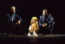 l-r: Rhys Ifans (Second Voice), Sian Rivers (Mae Rose Cottage), Nicholas McGaughey (First Voice) in UNDER MILK WOOD by Dylan Thomas at the Olivier Theatre, National Theatre (NT), London SE1 13/04/1995...