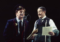l-r: Mark Lewis Jones (Willy Nilly), John Griffiths in UNDER MILK WOOD by Dylan Thomas at the Olivier Theatre, National Theatre (NT), London SE1 13/04/1995 music: Dominic Muldowney design: William Dud...