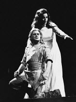 Jean Cox (Siegfried), Berit Lindholm (Brunnhilde) in GOTTERDAMMERUNG by Wagner at the The Royal Opera, Covent Garden, London WC2 16/09/1976 conductor: Colin Davis set design: Josef Svoboda costumes: I...
