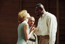 l-r: Claire Skinner (Desdemona), Simon Russell Beale (Iago), David Harewood (Othello) in OTHELLO by Shakespeare at the Cottesloe Theatre, National Theatre (NT), London 16/09/1997 design: Anthony Ward...