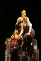 the Rhinemaidens, from top: Ragnhild Heiland Sorensen (Wellgunde), Toril Carlsen (Woglinde), Torill Eriksen (Flosshilde) in DAS RHEINGOLD by Wagner at the Theatre Royal, Norwich, England 18/06/1997 a...