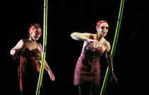 Rhinemaidens, l-r: Torill Eriksen (Flosshilde), Toril Carlsen (Woglinde) in DAS RHEINGOLD by Wagner at the Theatre Royal, Norwich, England 18/06/1997 a Den Norske Opera production conductor: Heinz Fr...
