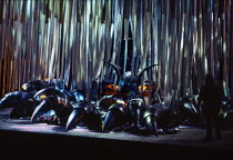 Siegfried (right) confronts Fafner disguised as a dragon in SIEGFRIED by Wagner at the The Royal Opera, Covent Garden, London WC2 12/09/1978 conductor: Colin Davis set design: Josef Svoboda costumes:...