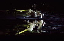 the Rhinemaidens in DAS RHEINGOLD by Wagner at the The Royal Opera, Covent Garden, London WC2 11/09/1980 conductor: Colin Davis set design: Josef Svoboda costumes: Ingrid Rosell lighting: William Bund...
