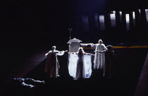 the Gods ascend to Valhalla in DAS RHEINGOLD by Wagner at the The Royal Opera, Covent Garden, London WC2 11/09/1980 conductor: Colin Davis set design: Josef Svoboda costumes: Ingrid Rosell lighting: W...