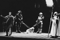 l-r: George Shirley (Loge), Robert Lloyd (Fasolt), Rachel Yakar (Freia), Matti Salminen (Fafner), Donald McIntyre (Wotan) in DAS RHEINGOLD by Wagner at the The Royal Opera, Covent Garden, London WC2 1...