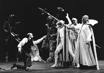 front, l-r: Robert Tear (Loge), Barry Mora (Donner), John Treleaven (Froh), Donald McIntyre (Wotan) in DAS RHEINGOLD by Wagner at the The Royal Opera, Covent Garden, London WC2 11/09/1980 conductor: C...