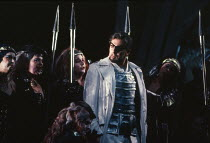 James Morris (Wotan) with Valkyrie in DIE WALKURE by Wagner at the The Royal Opera, Covent Garden, London WC2 27/09/1989 conductor: Bernard Haitink design: Peter Sykora lighting: John B Read director:...