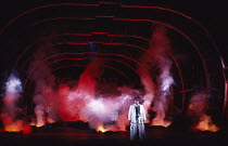closing moments: James Morris (Wotan) in DIE WALKURE by Wagner at the The Royal Opera, Covent Garden, London WC2 27/09/1989 conductor: Bernard Haitink design: Peter Sykora lighting: John B Read direct...