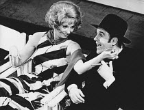 Marian Montgomery (Reno Sweeney), Michael Segal (Moonface Martin) in ANYTHING GOES at the Saville Theatre, London WC2 18/11/1969 music & lyrics: Cole Porter book: Howard Lindsay & Russell Crouse set d...