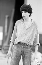 Daniel Day-Lewis rehearsing the role of Francis Flute, the Bellows-Mender in A MIDSUMMER NIGHT'S DREAM by Shakespeare for the Royal Shakespeare Company (RSC) 1983 UK Regional Tour set design: Bob Crow...