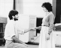 Daniel Day-Lewis (Romeo) and Amanda Root (Juliet) rehearsing ROMEO AND JULIET by Shakespeare for the Royal Shakespeare Company (RSC) 1983 Regional Tour set design: Bob Crowley costumes: Priscilla True...