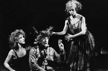 l-r: Penny Downie (Titania, Queen of the Fairies), Philip Jackson (Nick Bottom, The Weaver), Susan Jane Tanner (Peaseblossom) in A MIDSUMMER NIGHT'S DREAM by Shakespeare in the Royal Shakespeare Compa...