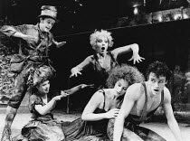 l-r: Charles Millham (Mustardseed), Alison Rose (Moth), Jan Revere (Peaseblossom), Penny Downie (Titania, Queen of the Fairies), Steven Pinner (Cobweb) in A MIDSUMMER NIGHT'S DREAM by Shakespeare in t...