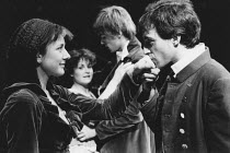 the lovers, l-r: Katharine Rogers (Helena), Amanda Root (Hermia), James Simmons (Lysander), Christopher Baines (Demetrius) in A MIDSUMMER NIGHT'S DREAM by Shakespeare in the Royal Shakespeare Company...