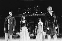 the lovers, l-r: Christopher Baines (Demetrius), Katharine Rogers (Helena), Amanda Root (Hermia), James Simmons (Lysander) in A MIDSUMMER NIGHT'S DREAM by Shakespeare in the Royal Shakespeare Company...