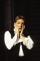 Kenneth Branagh (Hamlet) in HAMLET by Shakespeare at the Royal Shakespeare Company (RSC), Barbican Theatre, London  18/12/1992 design: Bob Crowley lighting: Alan Burrett fights: Malcolm Ranson movemen...