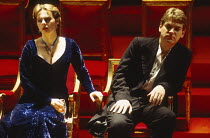 Joanne Pearce (Ophelia), Kenneth Branagh (Hamlet) in HAMLET by Shakespeare at the Royal Shakespeare Company (RSC), Barbican Theatre, London  18/12/1992 design: Bob Crowley lighting: Alan Burrett fight...
