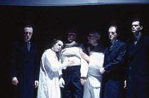 l-r: Michael Gould (Rosencrantz), Joanne Pearce (ghost of Ophelia), Kenneth Branagh (ghost of Hamlet), Clifford Rose (ghost of Hamlet's father), David Bradley (Polonius), Angus Wright (Guildenstern) i...