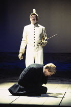 Kenneth Branagh (Hamlet), Clifford Rose (Ghost) in HAMLET by Shakespeare at the Royal Shakespeare Company (RSC), Barbican Theatre, London  18/12/1992 design: Bob Crowley lighting: Alan Burrett fights:...