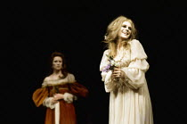 Judy Parfitt (Gertrude), Marianne Faithfull (Ophelia) in HAMLET by Shakespeare at the Roundhouse, London NW1 17/02/1969 a Free Theatre production design: Jocelyn Herbert lighting: Nick Chelton fights:...