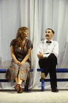 Janet McTeer (Beatrice), Mark Rylance (Benedick) in MUCH ADO ABOUT NOTHING by Shakespeare at the Queen's Theatre, London W1 06/07/1993 design: Neil Warmington lighting: Rick Fisher director: Matthew W...